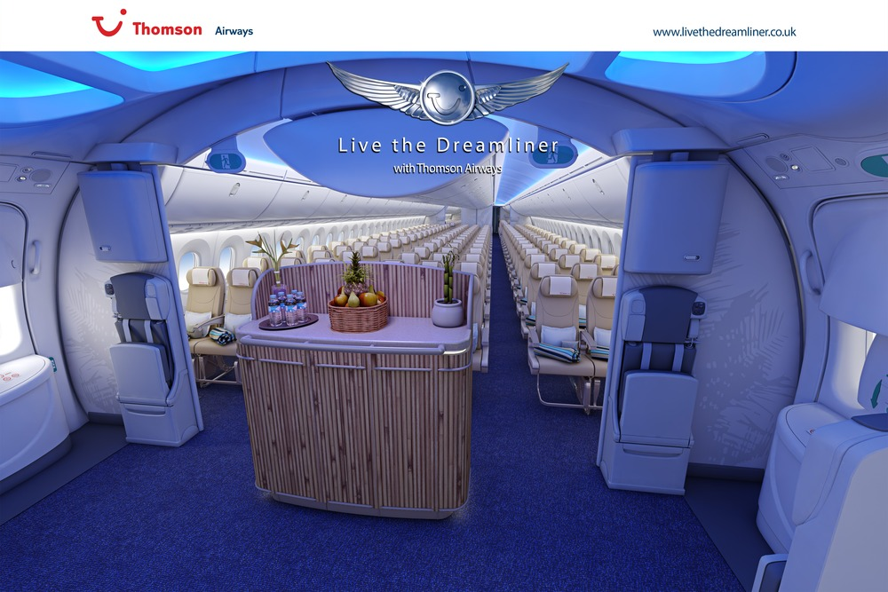 Dreamliner interior thomson airways inside the boeing 787 for Interior 787 dreamliner